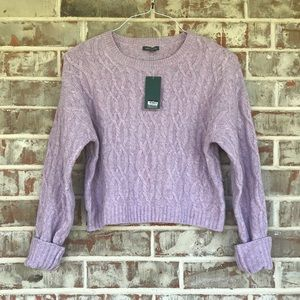 Wild Fable Lavender Cable Crew Neck Crop Sweater